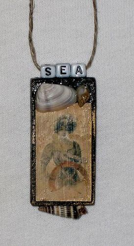 Vintage sea domino pendant altered art pendants domino jewelry my first attempts at making wooden domino pendants reversible regular domino on backside aloadofball Image collections