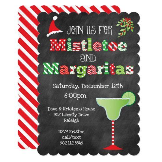 Mistletoe and Margaritas Christmas Party Invitation | Zazzle.com
