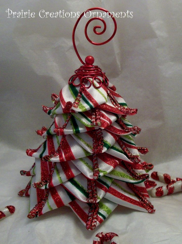 Christmas Tree Ornaments Quilted : Quilted ornament candy stripe ribbon tree christmas decor