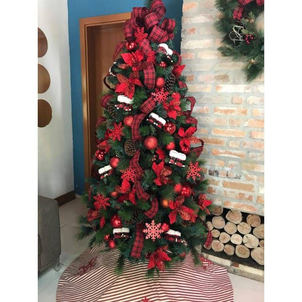 Foto 1 Kit Arvore De Natal Decorada Vermelha 1 53m Com 37