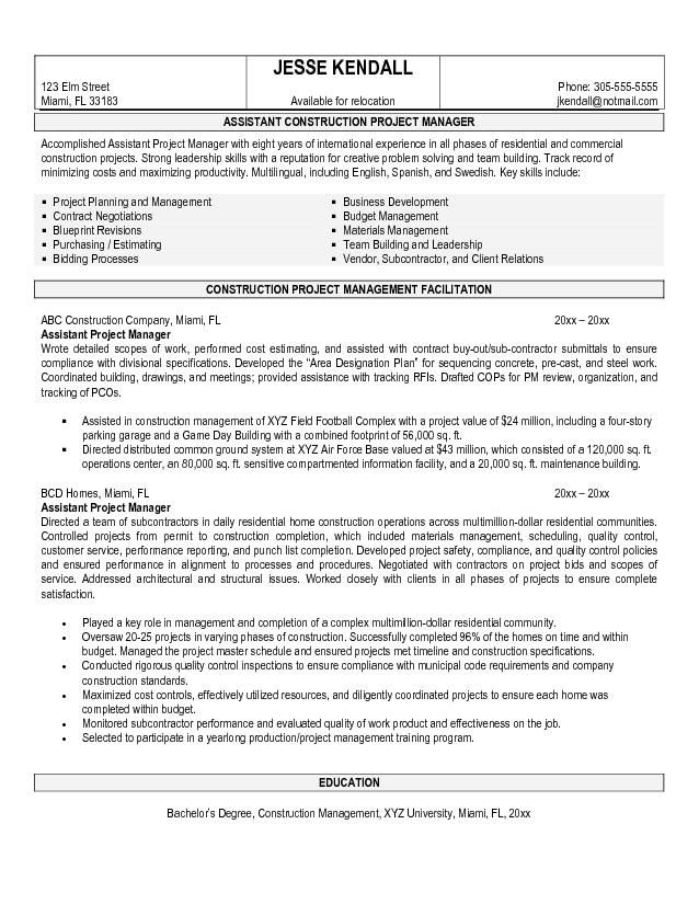 Project manager resume, Resume and Resume words on Pinterest - construction resume objective