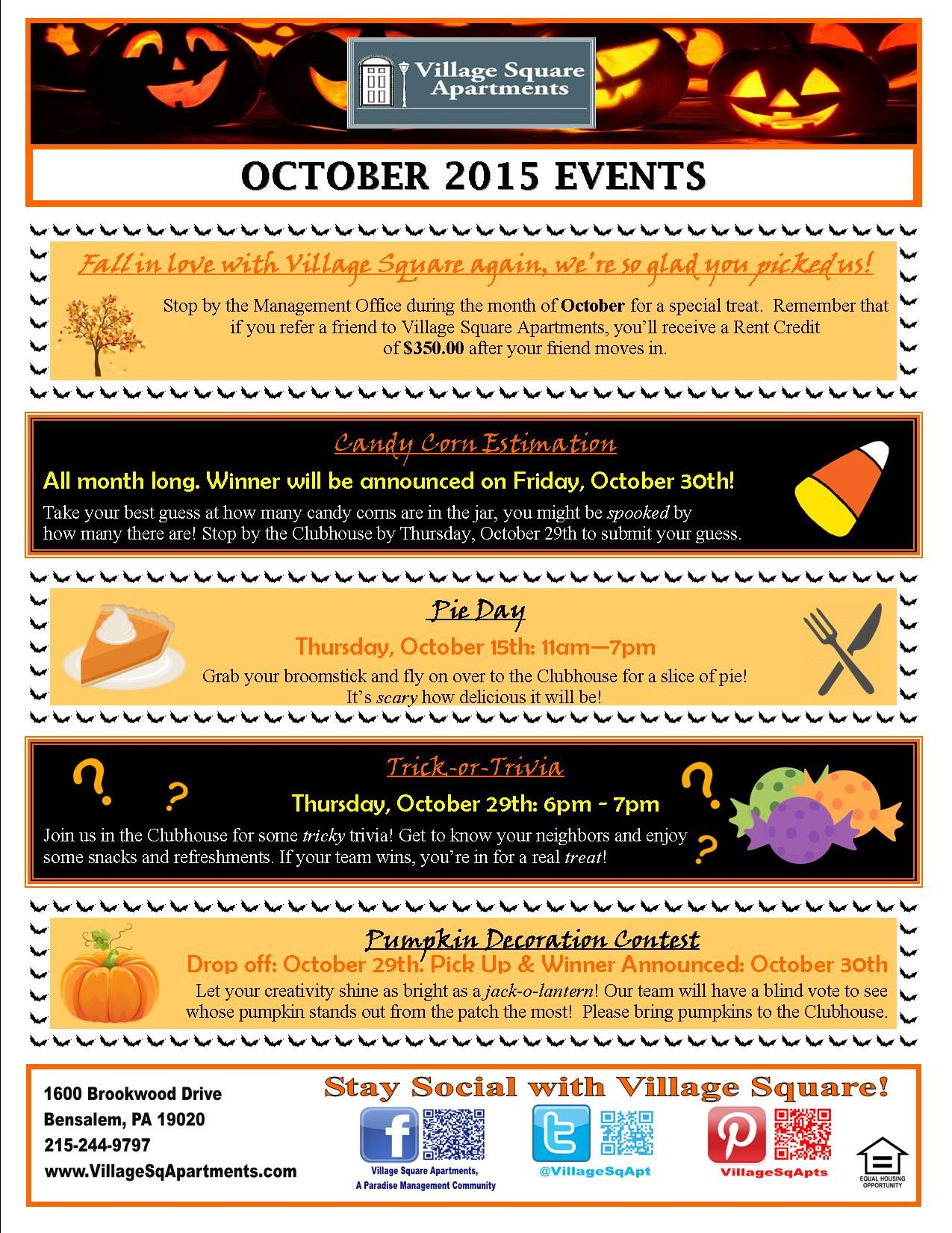 Pin by Village Square Apartments on Resident Events ...