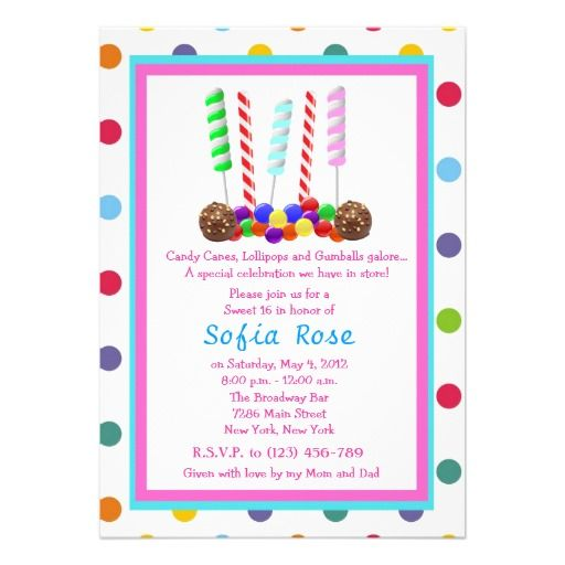 Candyland Candy Theme Sweet 16 Birthday Invite Candyland Birthday