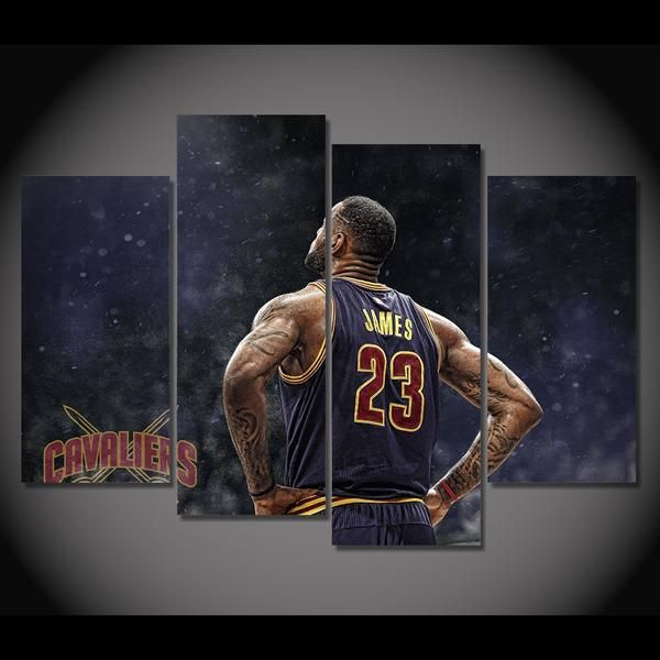 4 Panel Cleveland Cavaliers Lebron James Framed Wall Canvas Octo