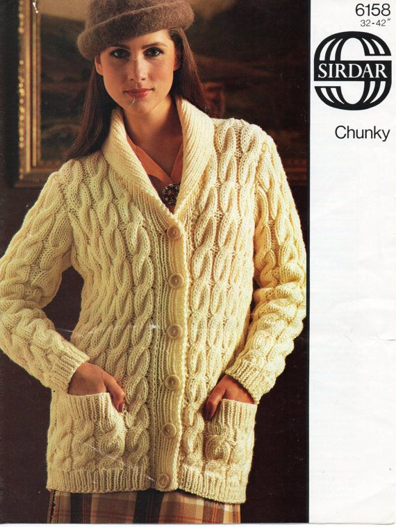 80cddc36c3eea9 Womens chunky cable cardigan knitting pattern pdf download ladies ...