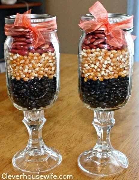 Mason jar wine glasses with fall decor handmade vegan