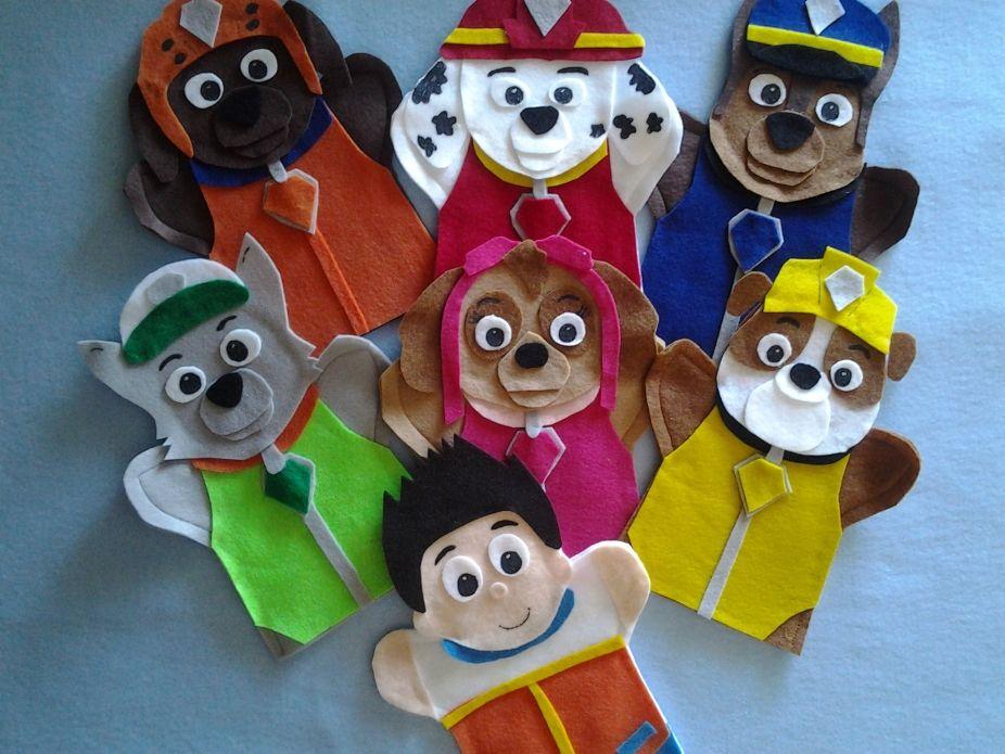 Paw Patrol felt hand Puppets  Wee Bairn  Paw patrol