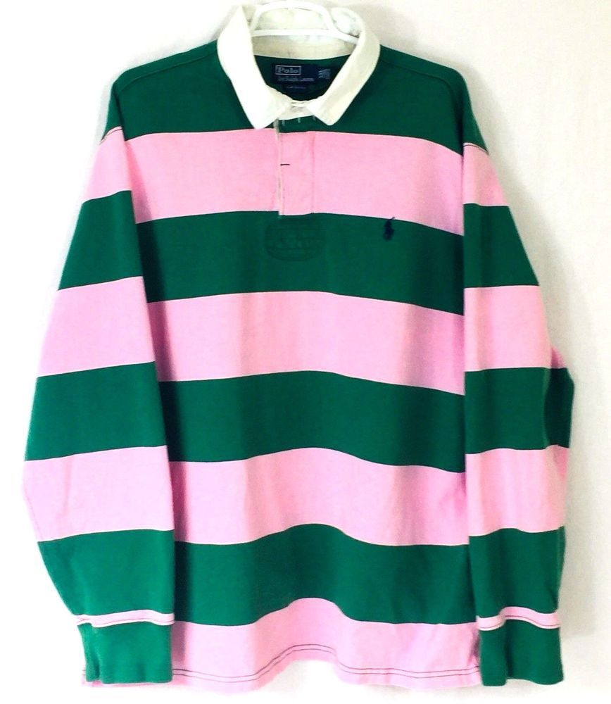 f0da0acca Vintage Polo Ralph Lauren Pink Kelly Green Rugby Shirt Mens XXL Custom Fit  80s
