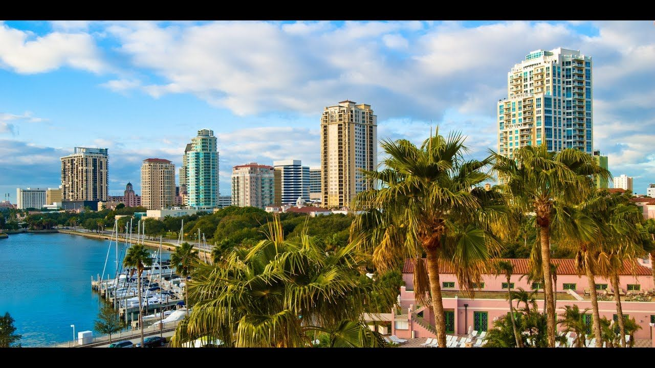 Aerial Downtown Saint Petersburg, Florida and St.pete