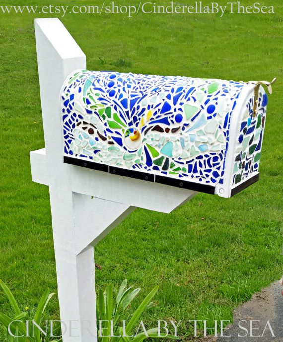 Beach Glass Mailbox Sea Glass Mailbox Sea Glass Mosaic Mailbox Repurposed Glass Mailbox Mosaic Mailbox Sea Glass Mosaic Sea Glass Beach Painted Mailboxes