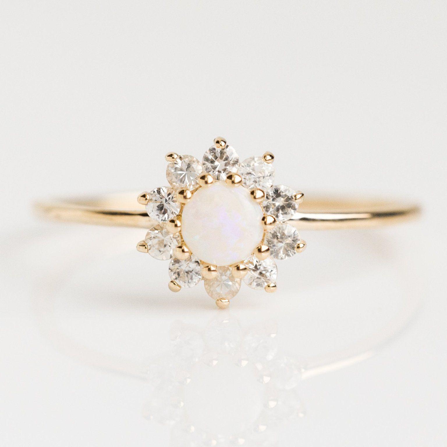 14K Gold Diamond Sunflower Ring in 2020