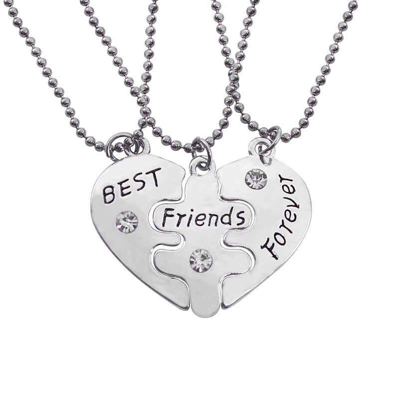Best Friends Forever Necklace Set 3 Piece Broken Heart Necklace