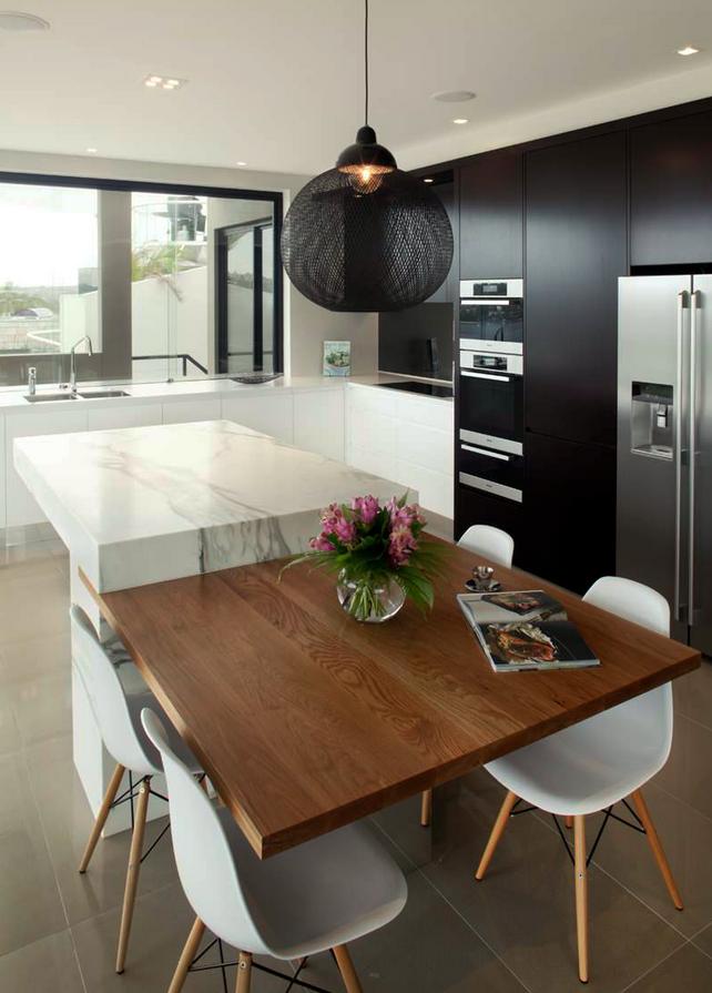 Table Incorporated Into Island Contemporary Kitchen Cabinets Modern Kitchen Contemporary Kitchen Design