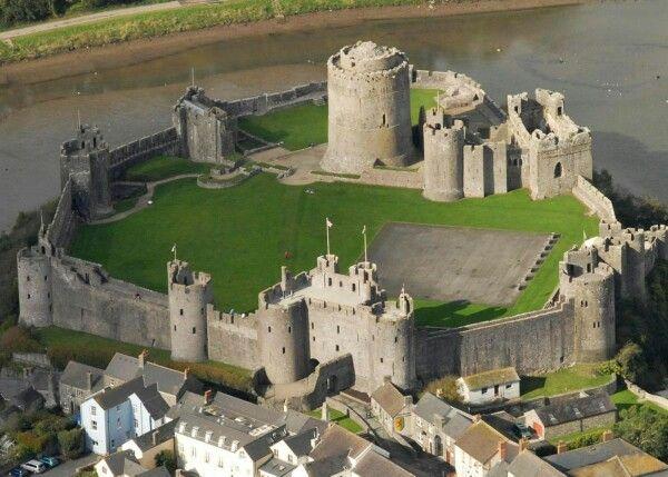 Pembroke castle, Wales - (Norman castle, built 1093 by Roger of Montgomery; keep 1200). | Pembroke castle, Norman castle, Medieval castle