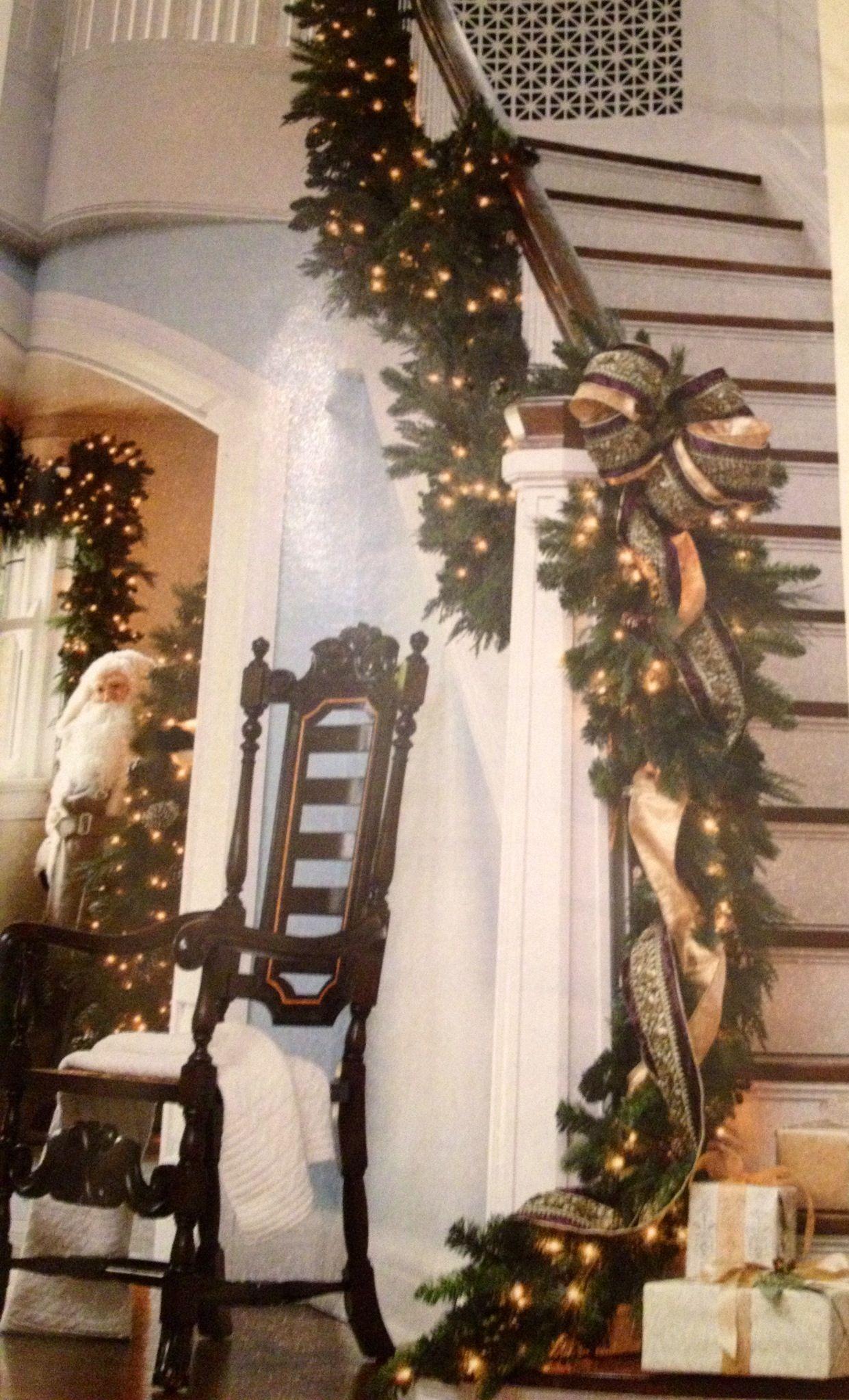 Christmas Staircase Idea Via Frontgate Christmas Garland