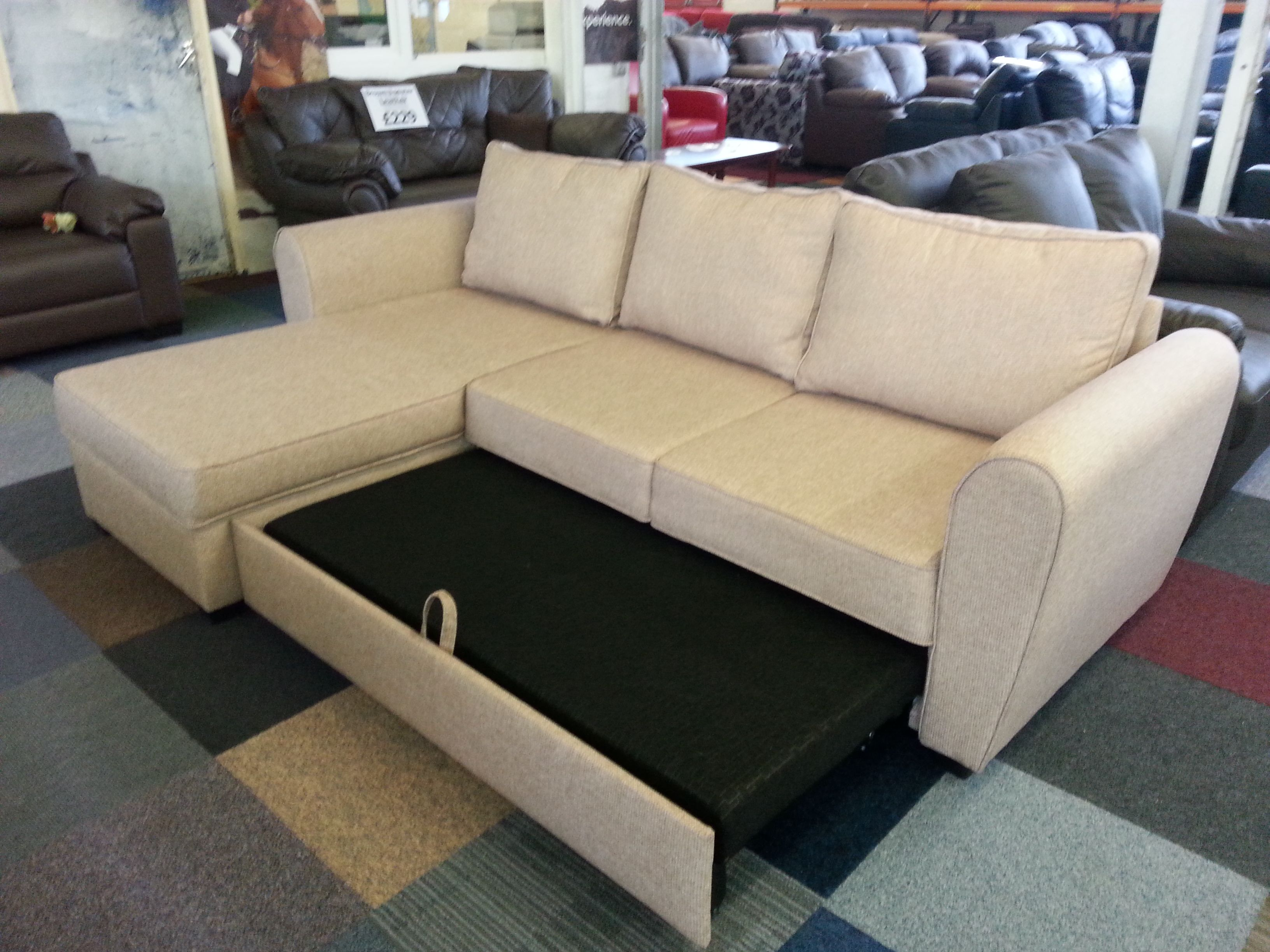 Siena Corner Group Sofa Bed with Storage - Wheat | Live - In ...