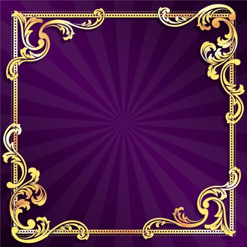 Purple Vintage Borders And Frames Golden Frame With Purple