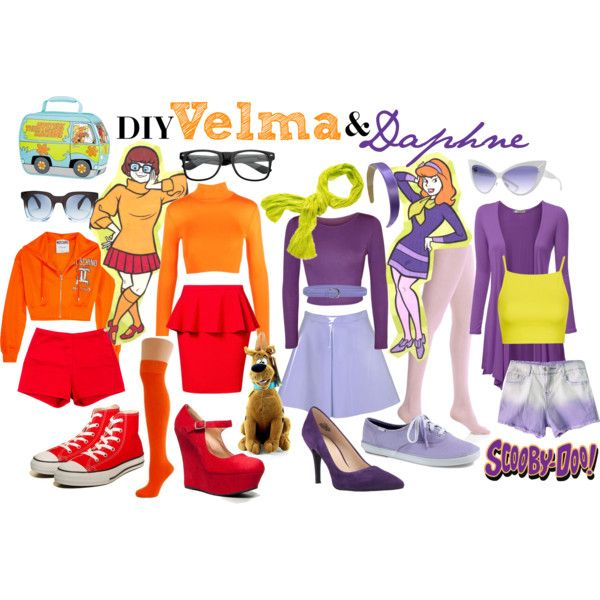 DIY Velma u0026 Daphne Costumes by ayemyree on Polyvore featuring Moschino WearAll Topshop  sc 1 st  Pinterest & DIY Velma u0026 Daphne Costumes by ayemyree on Polyvore featuring ...