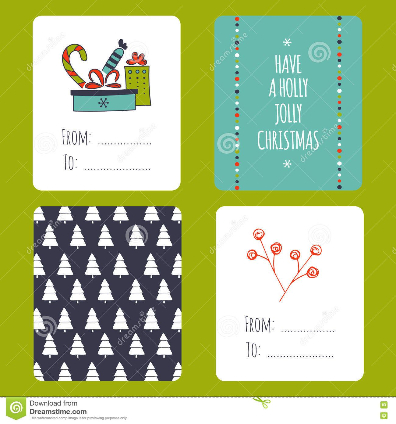 Christmas Set Of Cards Stock Vector Illustration Of Design Throughout Small Greeting Card Greeting Card Template Small Christmas Cards Christmas Card Template