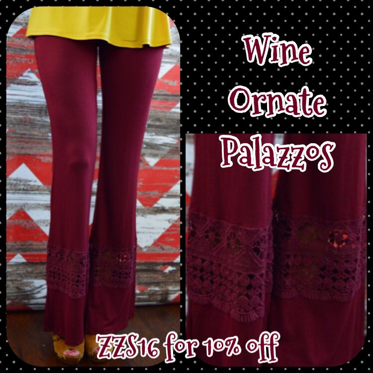 These beautiful palazzos are coming to live with me!!  Enter ZZS16 for 10% off! Plus free shipping and no tax (except in TX)!!