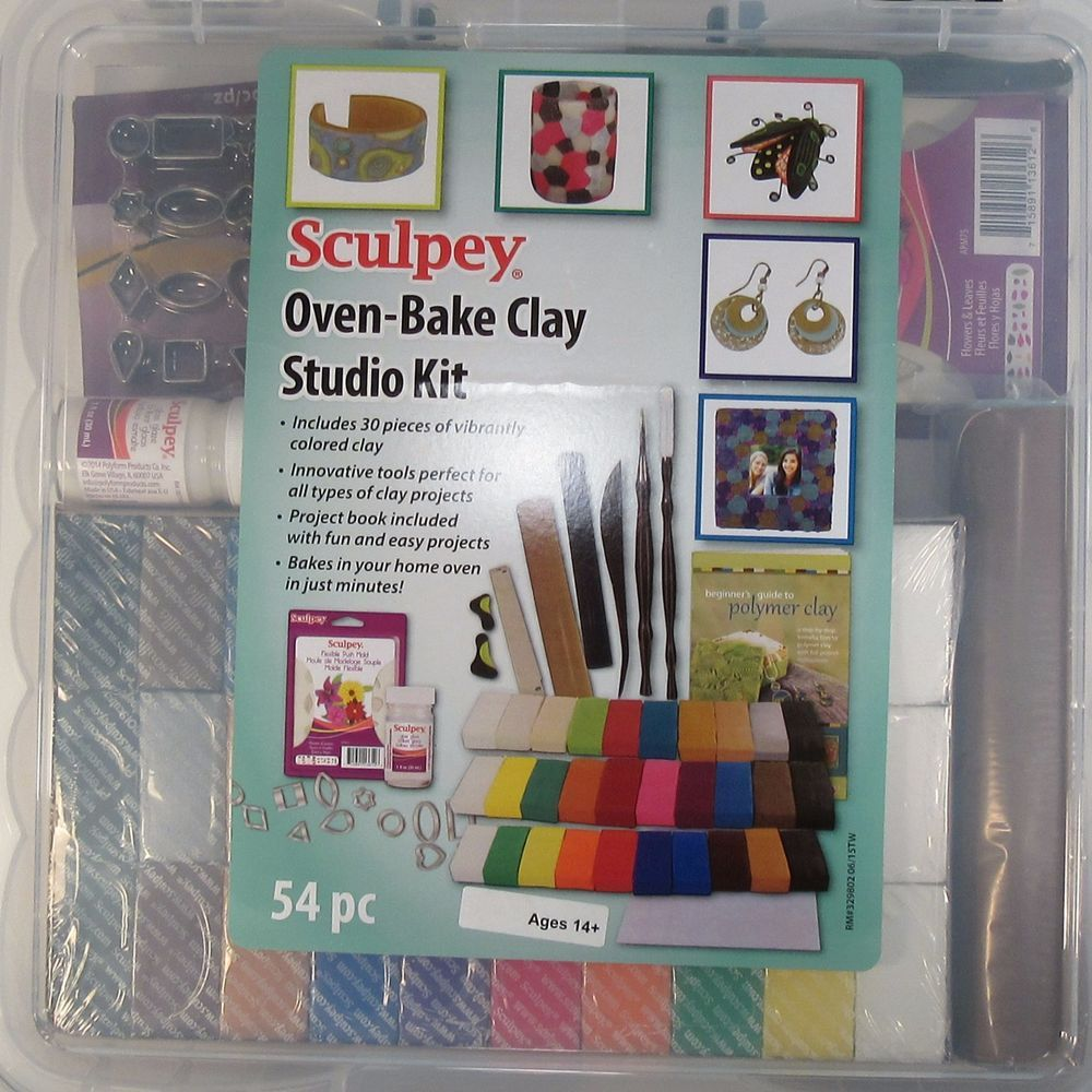 Sculpey Oven Bake Clay Studio Kit Clay Tools Glaze Mat Flower Mold
