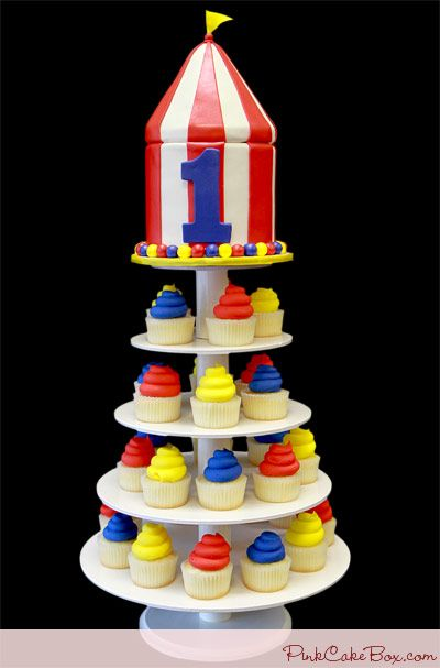Circus Tent Cupcake Tower by Pink Cake Box in Denville NJ. More photos at & Circus Tent Cupcake Tower » Childrens Cakes | Circus cakes Cake ...