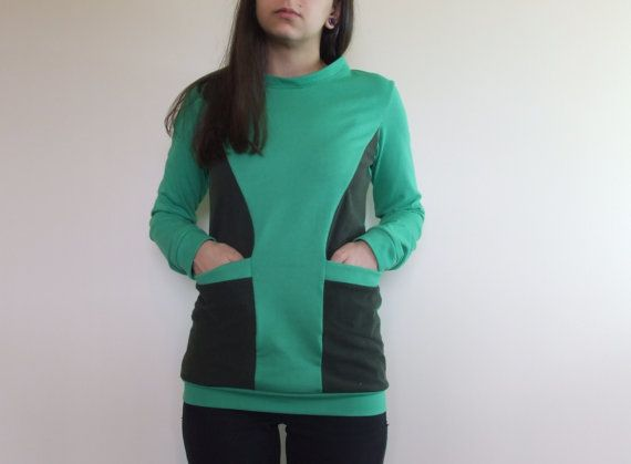 Long sleeve upcycled hoodie $46 by Mungo Crafts