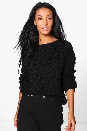 boohoo Lace Up Shoulder Jumper - black DZZ59974  Scarlett Lace Up Shoulder  Jumper - black 1ec878697