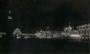 Night view of Festival Hall and Palace of Electricity from East Pavilion. (1904)