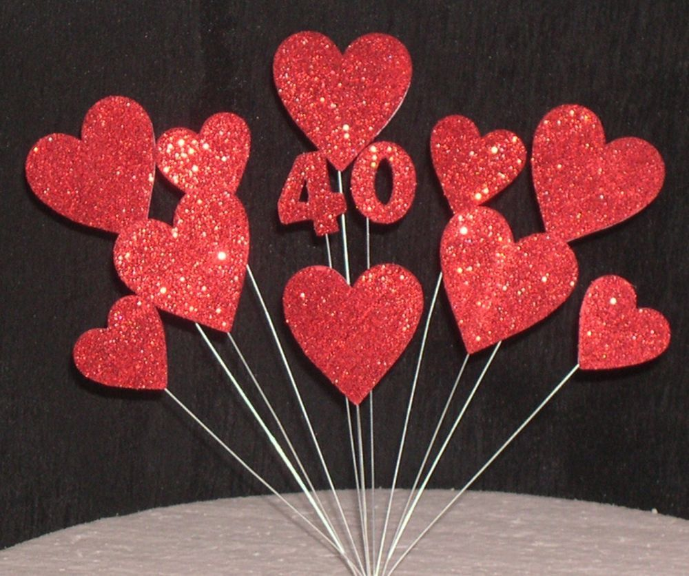 40th Ruby Wedding Anniversary Cake Topper Decoration Ruby - Ruby Wedding Cake Toppers