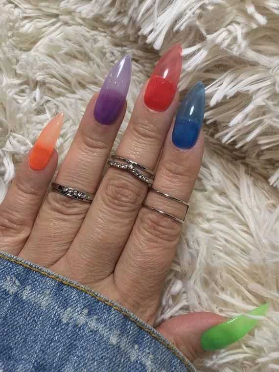 Rainbow Jelly Nails Press On Nails False Nails Summer ...