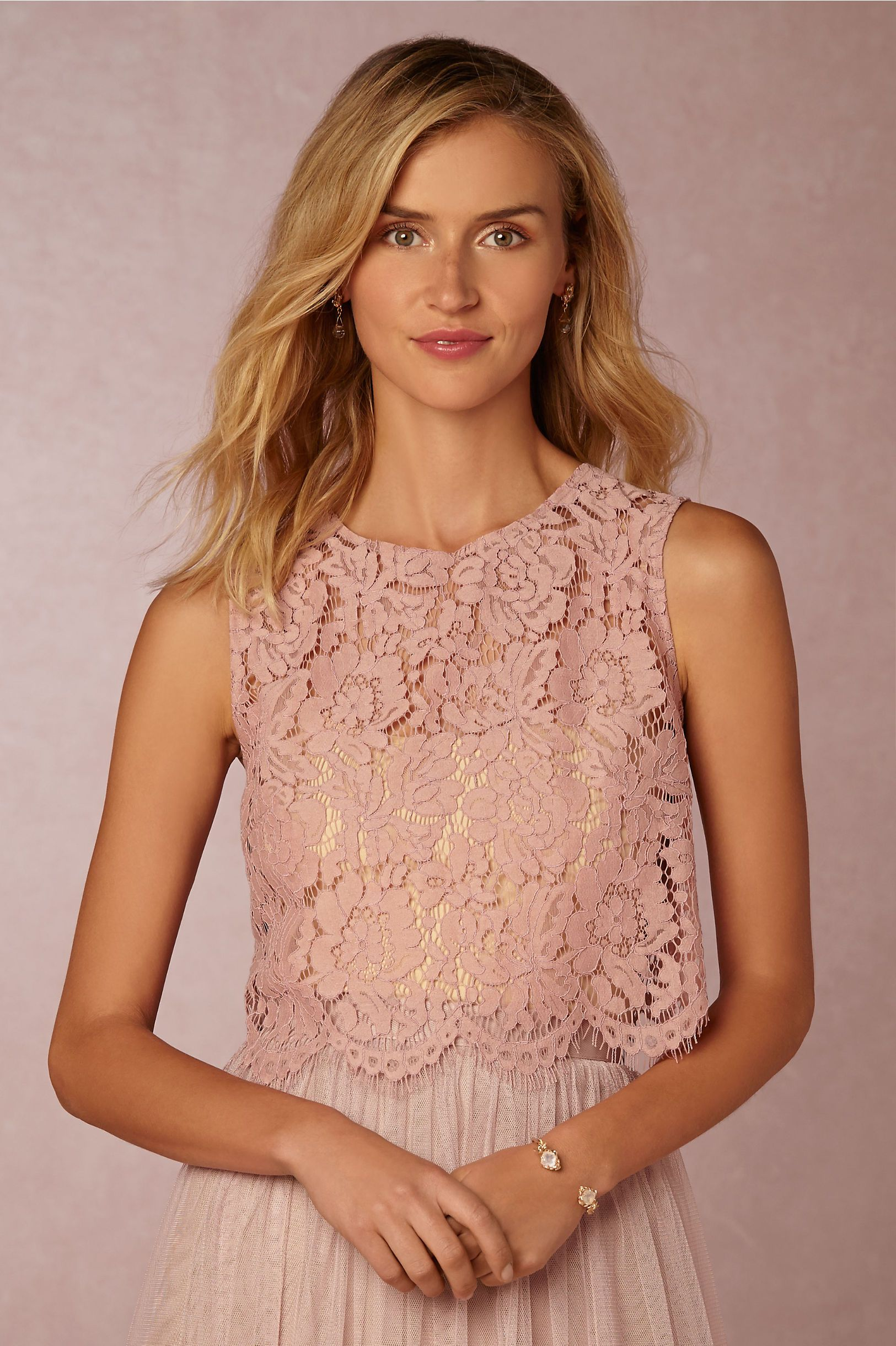 pink lace crop top Cleo Top in whipped apricot from