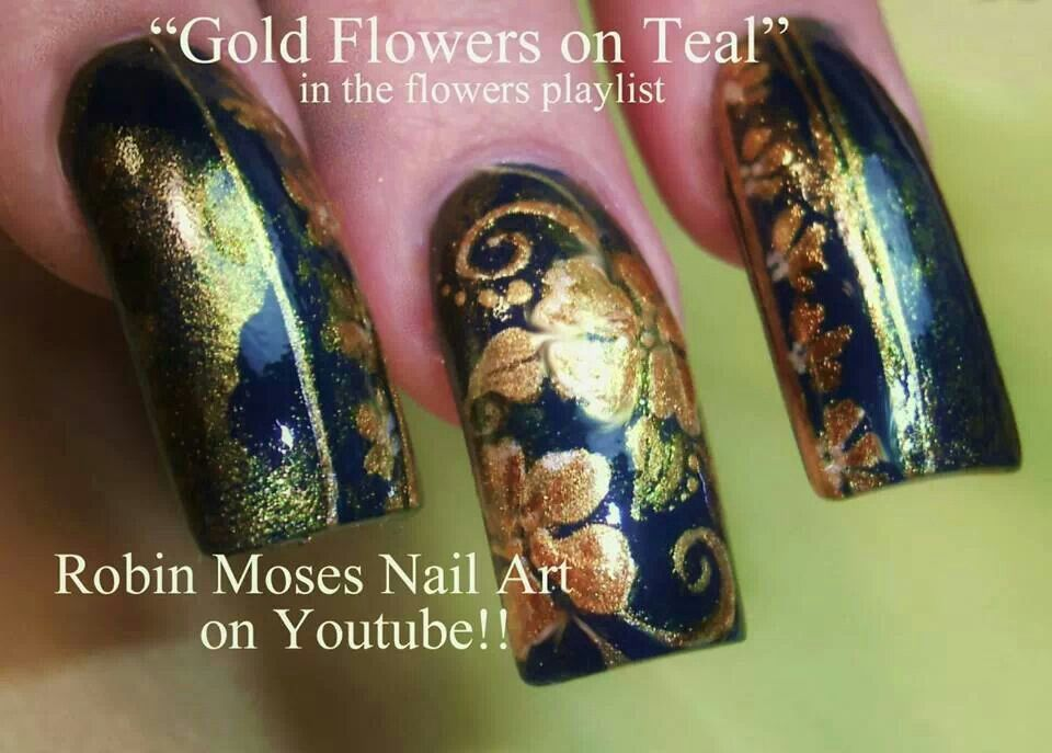 Gold flower on teal by robyn moses