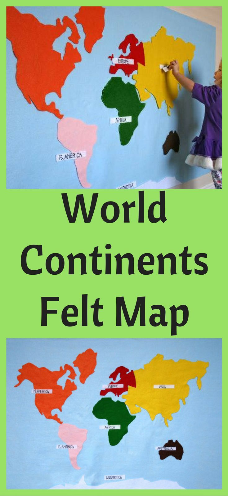 Montessori felt map of world continents spanish french english or montessori felt map of world continents spanish french english or german labels gumiabroncs Gallery