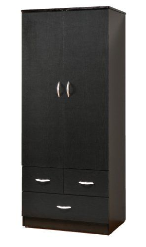 ABC Wardrobe Bedroom Armoire With 2 Doors And 3 Drawers In Black Finish    Click Image