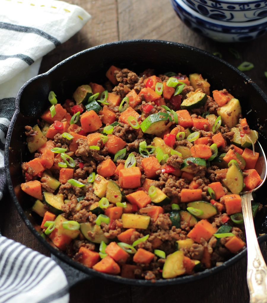 Ground Turkey Zucchini Sweet Potato Skillet This Ground Beef Zucchini Sweet Potato Skill Healthy Ground Beef Ground Beef Recipes Healthy Sweet Potato Skillet
