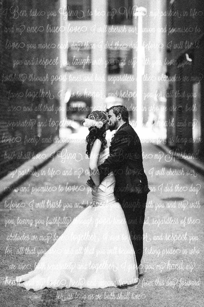 I cant wait to get this printed on canvas. Its my favorite wedding photo and I added an over lay of our vows we said at the ceremony.