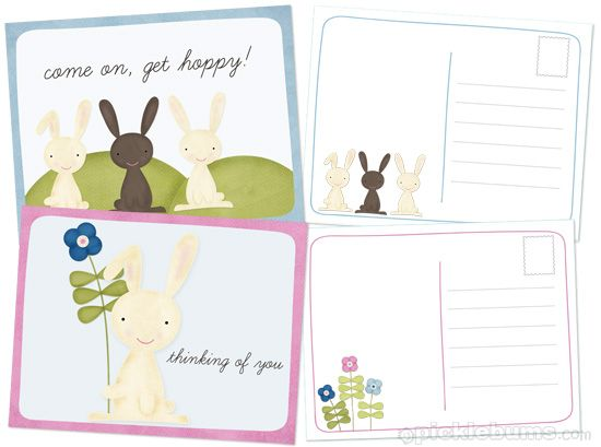 Get your kids writing with these free printable Easter Postcards