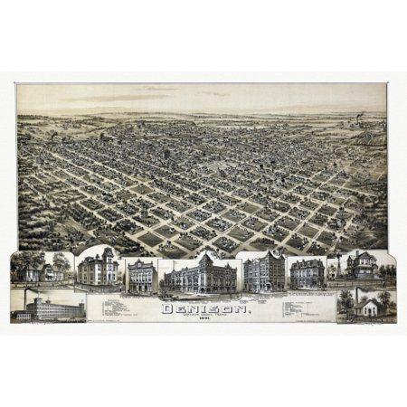 24x36 Bird/'s Eye View 1886 Denison Texas Vintage Style City Map