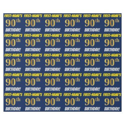 Blue Faux Imitation Gold 90th BIRTHDAY Wrapping Paper 1995 By AponxDesigns