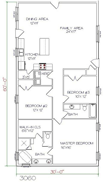 Barndominium Floor Plan 3 Bedroom 2 Bathroom 30x60 Barndominium Floor Plans
