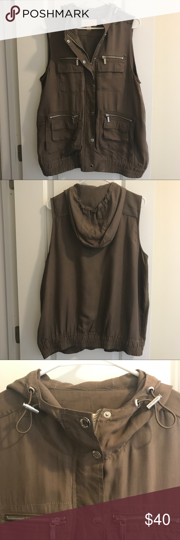 Michael Kors Olive Green Utility Vest with Hood Michael Kors Olive Green Utility Vest with Hood. Only worn a few times, in excellent condition! 100% rayon. Perfect paired with jeans and a collared button down! MICHAEL Michael Kors Jackets & Coats Vests