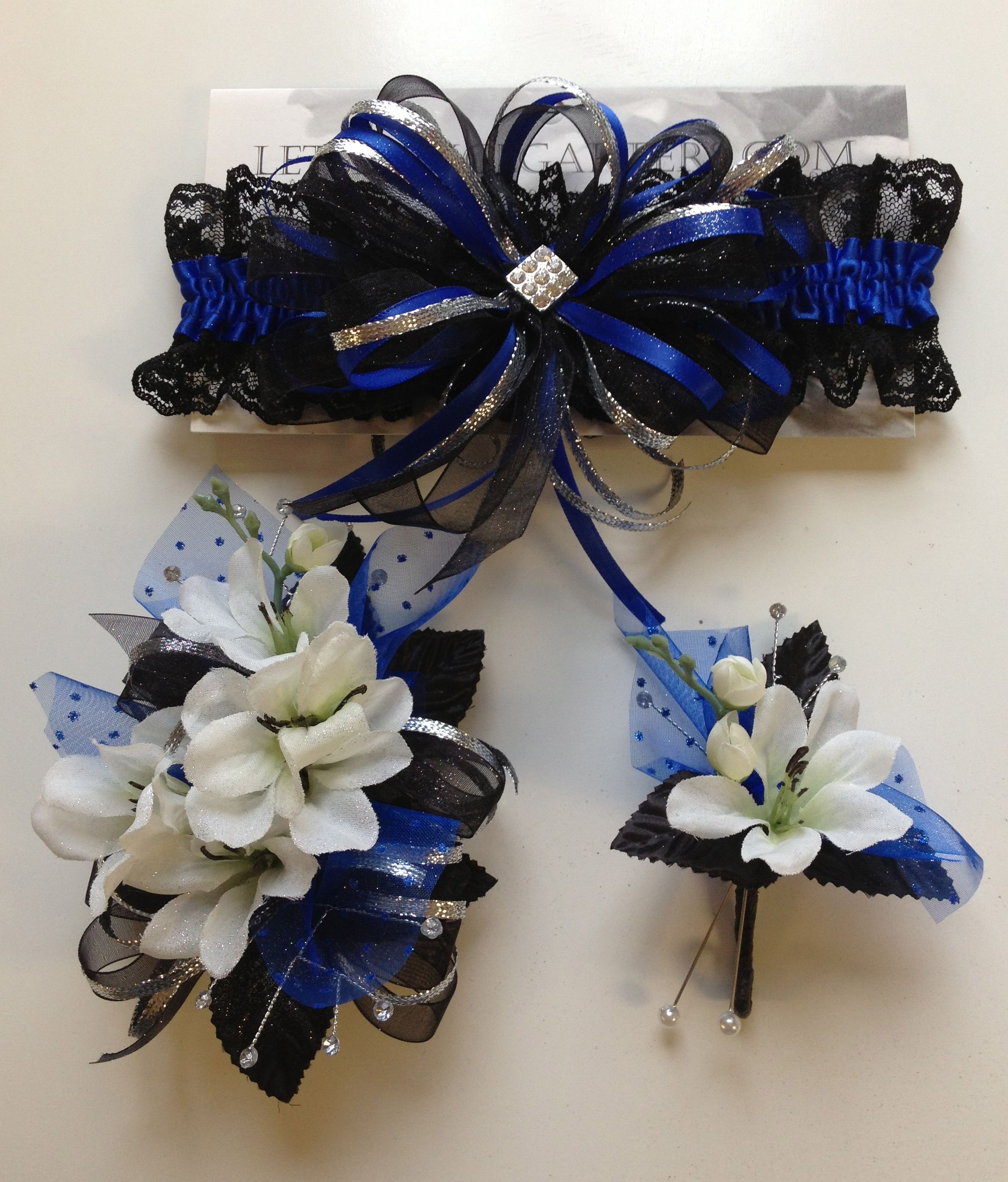 Royal Blue Prom Corsage And Matching Prom Garter