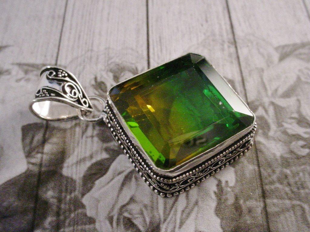 Old World Large 925 Sterling Silver Bicolour GreenYellow