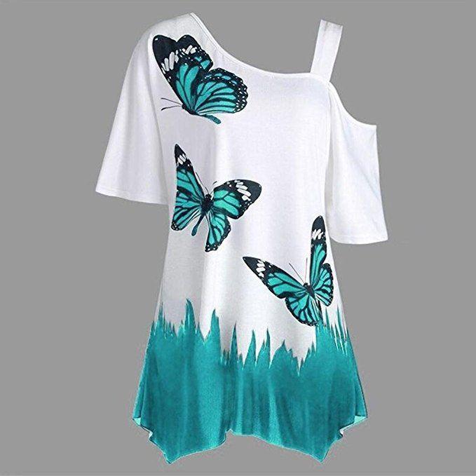 fa0a324b6c6b VEMOW Heißer Verkauf Große Größe Frauen Damen Mädchen Sommer Schmetterling  Druck T-Shirt Kurzarm Casual