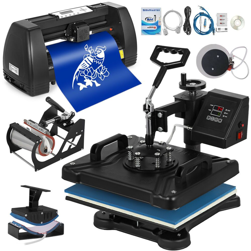 Ebay Sponsored 5in1 Heat Press 15 X12 14 Vinyl Cutter Plotter Sticker Print Business 3 Blades Best Heat Press Machine Heat Press Machine Vinyl Cutter