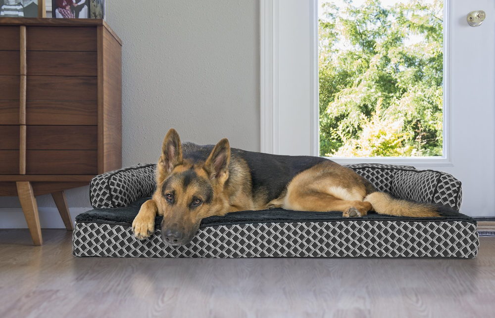 Furhaven Comfy Couch Orthopedic Bolster Dog Bed W Removable Cover Diamond Brown Large Chewy Com Cool Dog Beds Dog Sofa Bed Bolster Dog Bed
