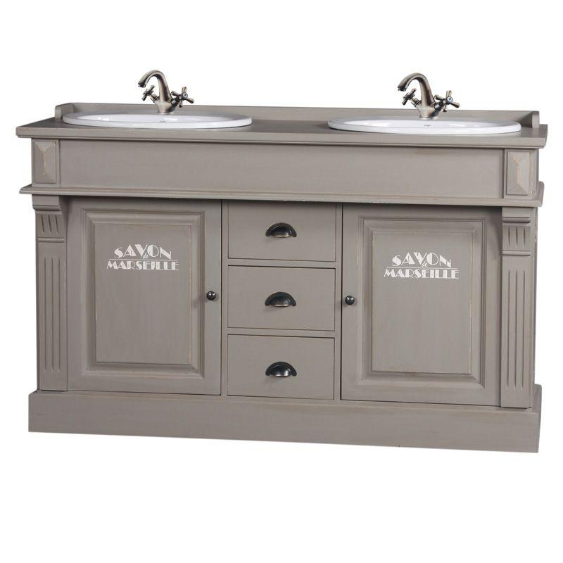 Meuble de salle de bain double vasque pin gris mobilier for Meuble double vasque 110