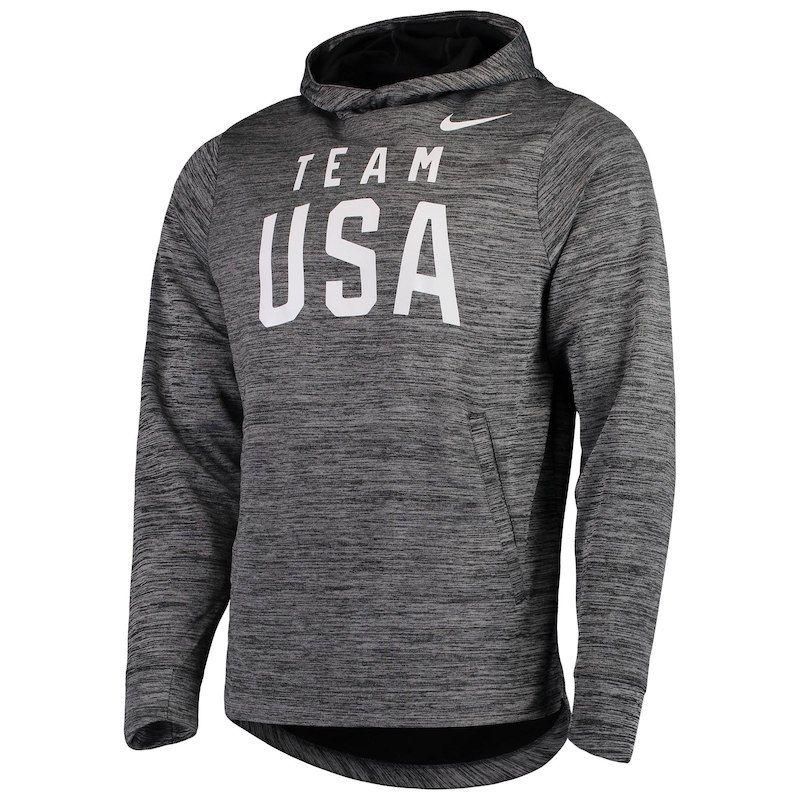 Men's Nike Heathered Charcoal Team USA Practice Fleece Pullover