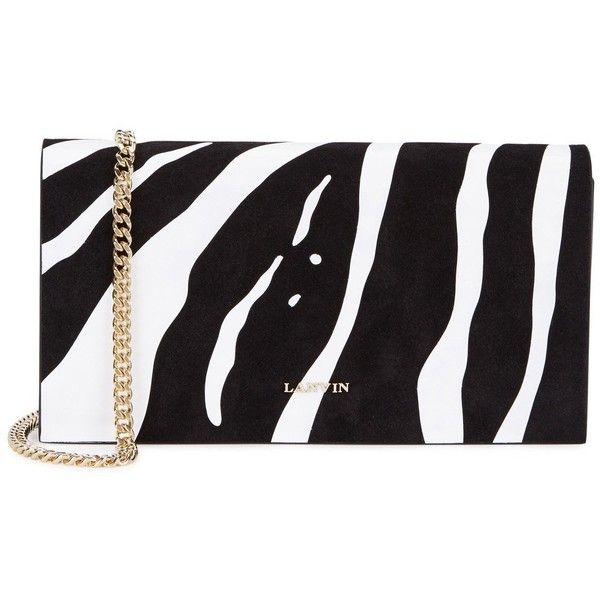 Lanvin zebra print suede and leather clutch 1510 ❤ liked on polyvore featuring